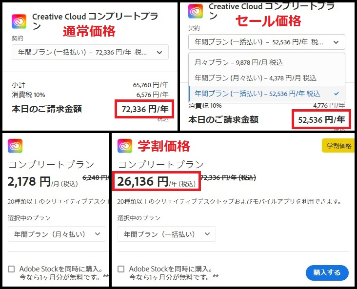✓Adobe Creative Cloudの価格